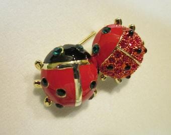 Unique Lady Bugs Brooch, Vintage Rhinestones – Too Fun!