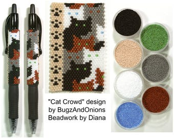 Cat Crowd by BugzAndOnions beaded PEN kit (pattern sold separately)