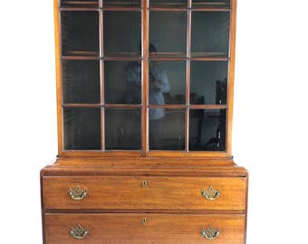 English Mahogany Georgian Bookcase on Chest c1800