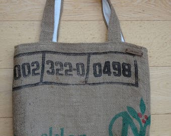 Coffee Sack Hessian tote. Handmade with 100% recycled fabric & jute. Perfect eco-chic accessory for the environmentally conscious.