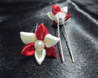 SET of 2 hair pins, hair clip in red and ivory satin flower