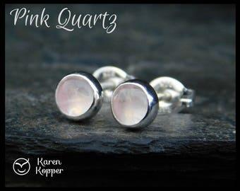 Natural pink quartz earrings, 5mm, in a sterling silver bezel setting. Sleepers, stud earrings. 138