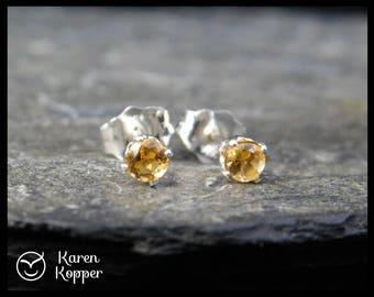 Natural yellow citrine earrings, 3 mm, sterling silver 0.925, November birthstone, ear stud 121