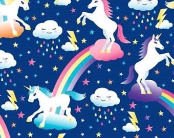 "Fleece Fabric Unicorn Rainbow Fleece Fabric Anti Pilling Polyester BB 4328 60"" Wide"