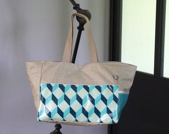 Paintings and graphic turquoise coated linen tote bag