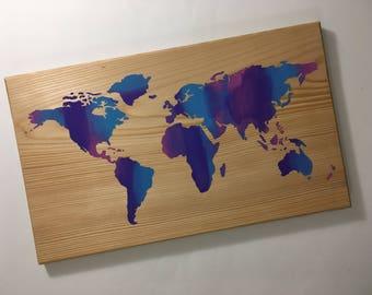 mutli color world map  - world map - world map decor - map decor - map wood sign - hand painted - world maps - maps - map sign
