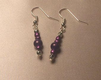 Simple Purple and Silver Earrings