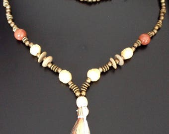 BRONZE NECKLACE, PEARL STONE SUN AND TASSEL