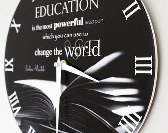 Wall Clock - Education is the most powerful weapon you can use to change the world  11""