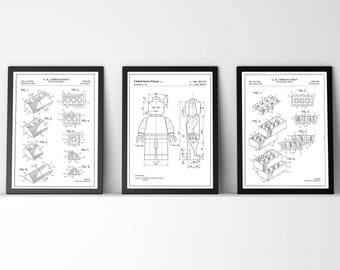 3 Lego patent prints|Wall Art |Poster |Gift |Present |Toy | Angled Bricks | Building Bricks | Lego Man | Personalised