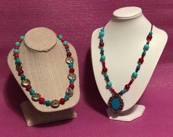 Handmade Turquoise and red beaded Duo