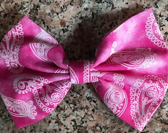 Pink with White Paisley Bow