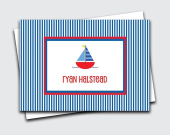 Sailboat Note Cards for Boys / Boat Fold Over Notes / Birthday Gift Thank You Notes / Personalized Kids Notecards (#1702-013FO)