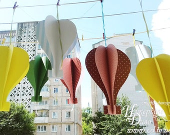 Set of three giant 3D paper hot air balloon - hanging decor birthday party, shop window, themed parties, Christening, baby room