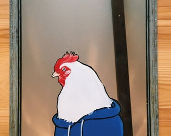 Hand Painted Chicken Mirror