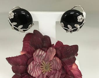 14K White Gold Black Onyx and Diamond Earrings #5113