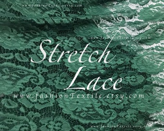 Forest Green lace fabric stretch lace sold by metre
