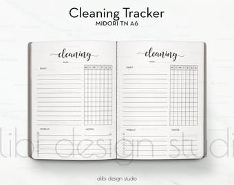 A6 TN, Cleaning Schedule, Travelers Notebook, Cleaning Tracker, Midori, Traveler's Notebook A6, TN Inserts, Cleaning TN, To Do List, A6