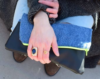 Jeans Fold Over Clutch,  Black Genuine Leather, Zipper Clutch, gift for her, Ipad- Tablet Case- day- evening Purse