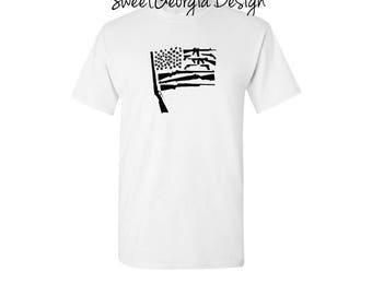 Gun Flag Tee! These can be made in a few different colors/ America/ Guns/ Flag/ United We Stand