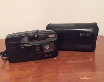 Ricoh AF-77 Date Point Shoot 35mm Film Camera Vintage 90s w/ Case Working Flash
