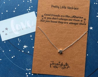Star Necklace, Good Friends Are Like Stars... Gold and Silver Necklace, Tiny Star Necklace, Star Jewelry, Charm Necklace, Star Charm