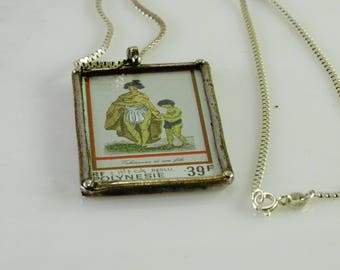 "Antique French Polynesia  Pendant in a Sterling Frame 17"" Sterling Chain"