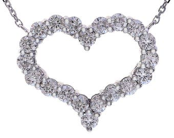 "1.50 Carat Round Cut Diamond Heart 16"" Necklace 14K White Gold"