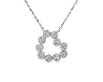 0.75 Carat Round Cut Diamond Multi Flower Heart Pendant Necklace 14K White Gold