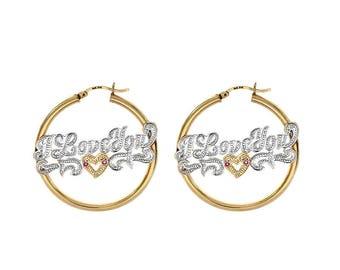 14K Yellow Gold 'I Love You' Nameplate Hoop Earrings
