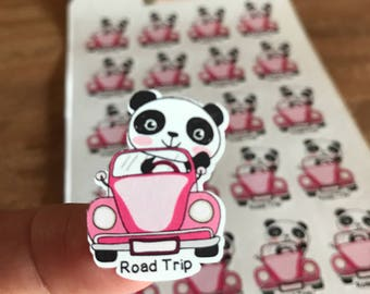 Cute panda road trip planner sticker. Fun way to mark your next trip. Use in your planner, calendar, memory book or scrapbook. Functional
