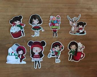 Christmas girl die cuts. Die cuts to decorare your planner, memory book, scrapbook or travelers notebook. Ephemera