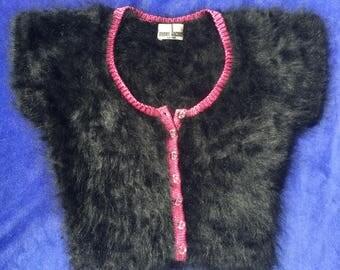 Black Angora sweater / pink trim