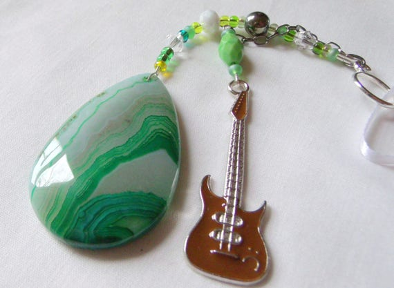 Musician agate gift - sun catcher - rear view mirror - Rock band memento - electric guitar - Boyfriend gift - Grooms men gift -  green  gem