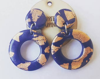 Handmade navy and copper foil polymer clay stud dangle earrings