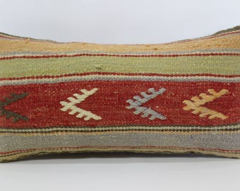 10x20 Ethnic Pillow Sofa Pillow Striped Embroidered Kilim Pillow 10x20 Turkish Kilim Pillow Floor Pillow Cushion Cover SP2550-1224