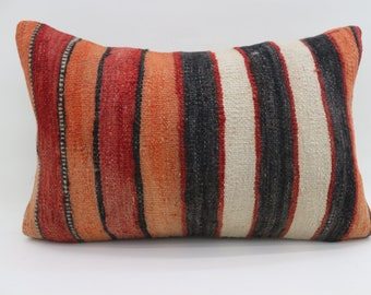 16x24 Kelim Kissen Turkish Decorative Pillow BLack Pillow 16x24 Red Pillow Striped Pillow Multicolor Pillow Cushion Cover SP4060-1302