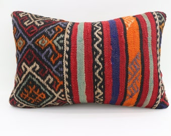 16x24 Kilim Pillow Covers Striped Pillow Geometric Pillow 16x24 Decorative Kilim Pillow Multicolor Pillow Embroidery Pillow SP4060-1420