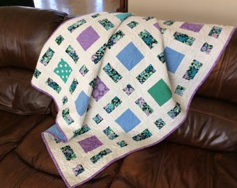 Modern Quilt,  Lap Quilt, Quilted Throw, Blue Quilt, Floral Quilts, Handmade Patchwork Blanket