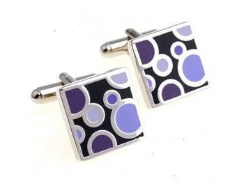 Circled Purple Cufflink Squares-k199