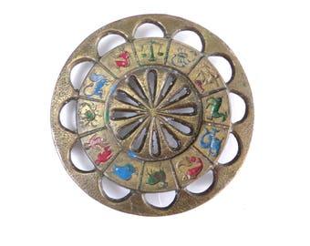 Vintage Brass Astrology Astrological Zodiac SignTrivet Hotplate 70s Boho Kitchen