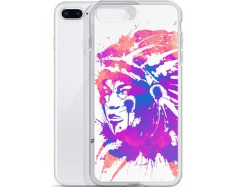 iPhone Case - Native Headdress Woman Watercolor Painted Design