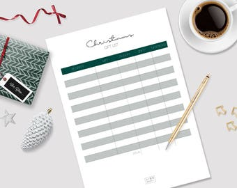Christmas Gift List - Printable Gift List - Gift List Planner - Gift Organizer - Holiday Planner - Gift List - Christmas Shopping List
