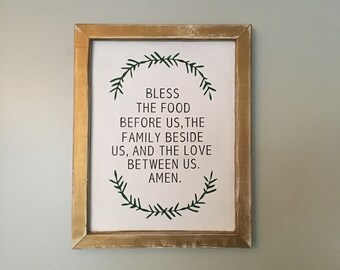 Dinner Table Blessing Sign with Fern Borders and a Thick Wooden Frame