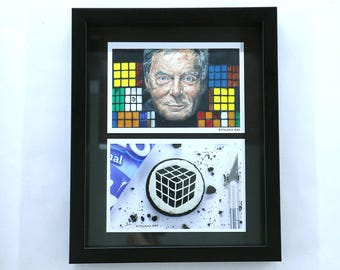 Rubik's Cube Art Collection - Drawing of Erno Rubik and Oreo Carving of 3x3x3 Rubik's Cube - PRINTS and FRAME