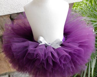 Plum Tutu, Plum and Silver Tutu, Eggplant Tutu, Newborn Plum Tutu, Purple Tutu, First Birthday Tutu, Toddler, Cake Smash Tutu