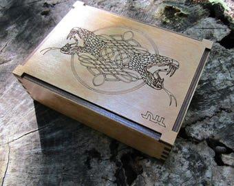 Engraved Snake Celtic Wooden Box, Wood Jewelry Box, Case, Storage, Keepsakes