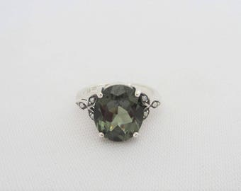 Vintage Sterling Silver Green Tourmaline & Seed Pearl Ring Size 10