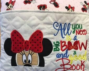 Minnie Reading Pillow , Reading  Pillow, Pocket Pillow, Book Pillow
