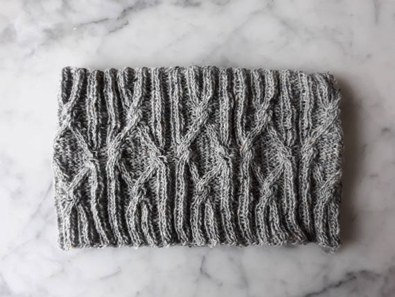 Cable knit cowl in merino Donegal Tweed yarn. Original design. Made in Ireland. Knit neckwarmer. Hat scarf set. Man's knit cowl. Gray cowl.